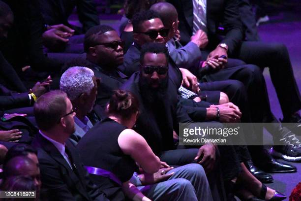 Bill Russell James Harden and Russell Westbrook attend The Celebration of Life for Kobe Gianna Bryant at Staples Center on February 24 2020 in Los...