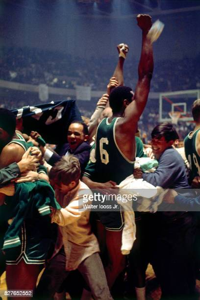 Bill Russell of the Boston Celtics celebrates after winning Game 6 of the NBA Finals against the Los Angeles Lakers at The Forum in Inglewood...