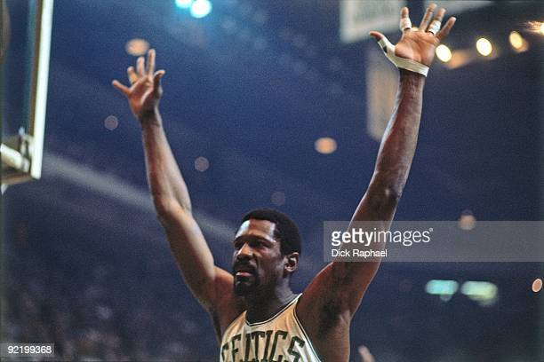 Bill Russell of the Boston Celtics defends during a game played in 1968 at the Boston Garden in Boston Massachusetts NOTE TO USER User expressly...