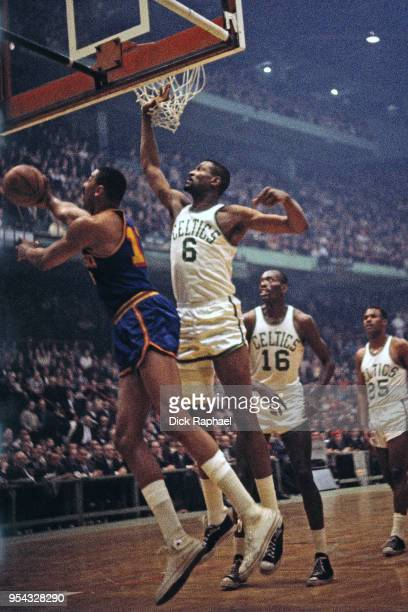3bd8a3ca4 Bill Russell of the Boston Celtics defends Wilt Chamberlain of the San  Francisco Warriors circa 1964