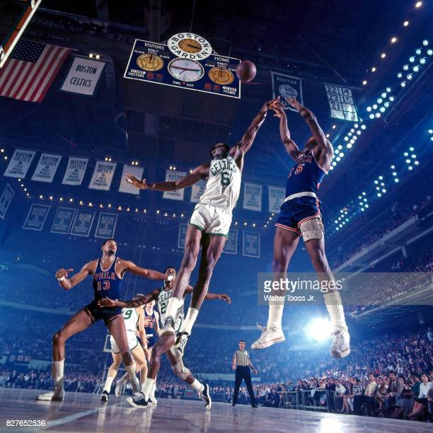 Bill Russell of the Boston Celtics goes up for a block against the Philadelphia 76ers at the Boston Garden in Boston Massachusetts circa 1968 NOTE TO...
