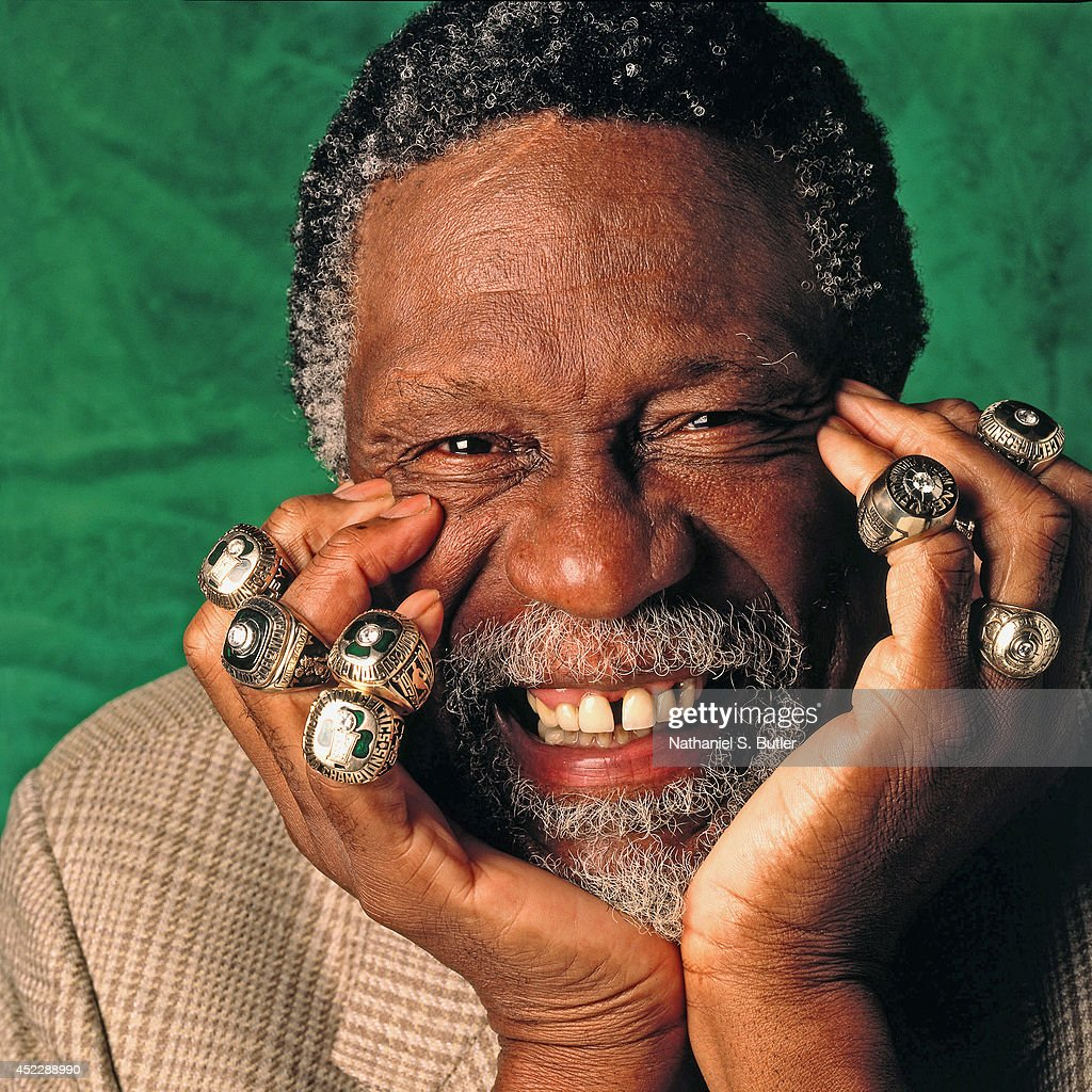 Bill Russell Of The Boston Celtics Poses For A Photo With Eleven His Championship Rings