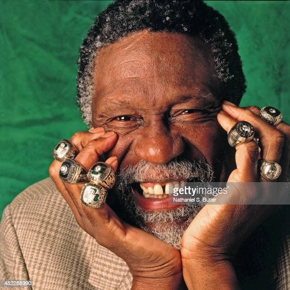 bill russell of the boston celtics poses for a photo with
