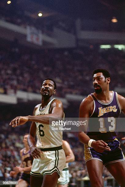 Bill Russell of the Boston Celtics stands against Wilt Chamberlain of the Los Angeles Lakers during a game played in 1968 at the Boston Garden in...
