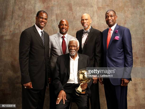 Bill Russell poses for a portrait with David Robinson Alonzo Mourning Kareem Abdul Jabbar and Dikembe Mutombo after receiving the Lifetime...