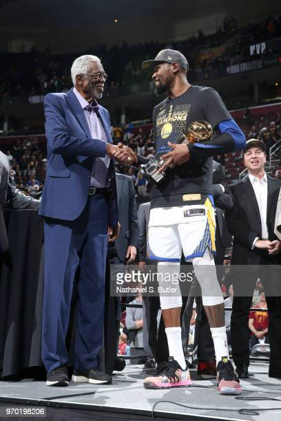 Bill Russell shakes hands with Kevin Durant of the Golden State Warriors after Game Four of the 2018 NBA Finals against the Cleveland Cavaliers on...