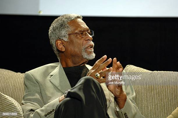 Bill Russell speaks during a Martin Luther King Jr Sports Legacy Symposium before a game between the San Antonio Spurs and Memphis Grizzlies on...