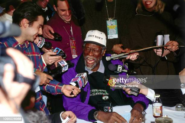 Bill Russell speaks with the media during the NBA at 50 Event on February 7 1997 as a part of NBA AllStar Weekend 1997 at the Gund Arena in Cleveland...