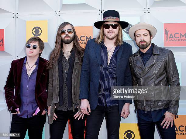 Bill Satcher Graham Deloach Michael Hobby and Zach Brown of A Thousand Horses attend the 51st Academy of Country Music Awards at MGM Grand Garden...