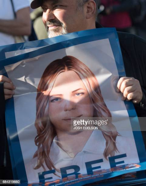 Bill Schwalb sells posters of Chelsea Manning in the Castro District of San Francisco California on May 17 during a celebration for Manning's release...