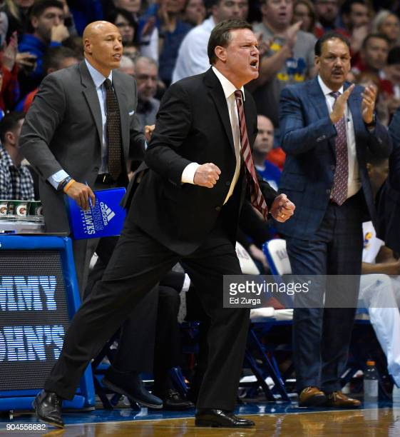 Bill Self head coach of the Kansas Jayhawks cheers for his team during a game against the Kansas State Wildcats in the second half at Allen...