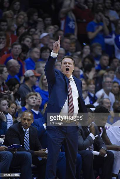 Bill Self head coach of the Kansas Jayhawks directs his team against the Texas Longhorns at Allen Fieldhouse on January 21 2017 in Lawrence Kansas