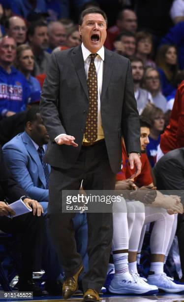 Bill Self head coach of the Kansas Jayhawks directs his team against the TCU Horned Frogs in the fist half at Allen Fieldhouse on February 6 2018 in...