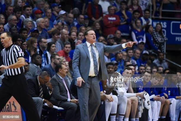Bill Self head coach of the Kansas Jayhawks directs his team against the Oklahoma Sooners at Allen Fieldhouse on February 19 2018 in Lawrence Kansas