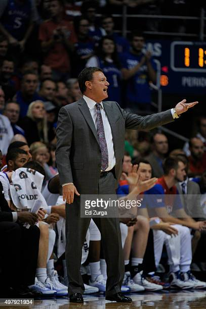 Bill Self head coach of the Kansas Jayhawks in action during a game against the Northern Colorado Bears at Allen Fieldhouse on November 13 2015 in...