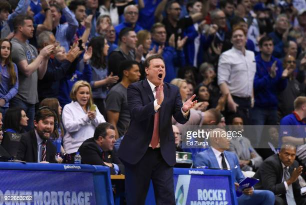 Bill Self head coach of the Kansas Jayhawks reacts against the West Virginia Mountaineers at Allen Fieldhouse on February 17 2018 in Lawrence Kansas