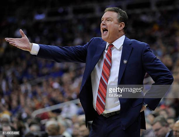 Bill Self head coach of the Kansas Jayhawks reacts to a foul call against the Baylor Bears in the first half during the semifinals of the Big 12...
