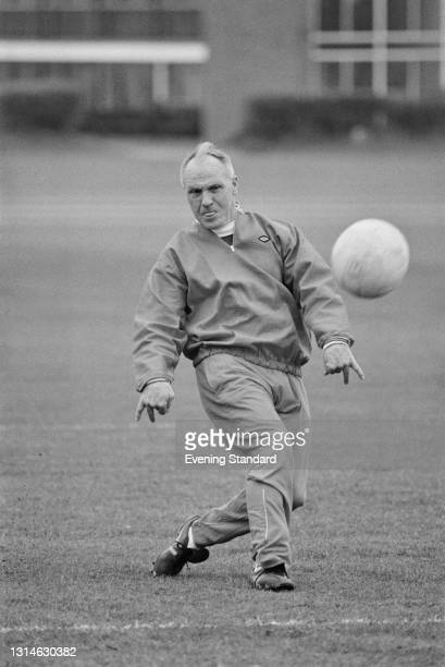 Bill Shankly , manager of Liverpool FC, training ahead of the 1974 FA Cup Final against Newcastle United at Wembley Stadium in London, UK, 3rd May...