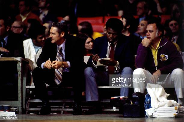 Bill Sharman head coach of the Los Angeles Lakers watches the action against the Boston Celtics during a game played on February 11 1972 at Boston...