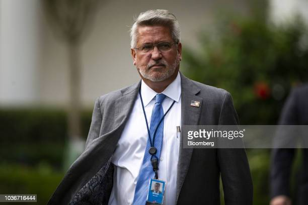 Bill Shine White House communications director arrives in the Rose Garden on the South Lawn of the White House in Washington DC US on Thursday Sept...