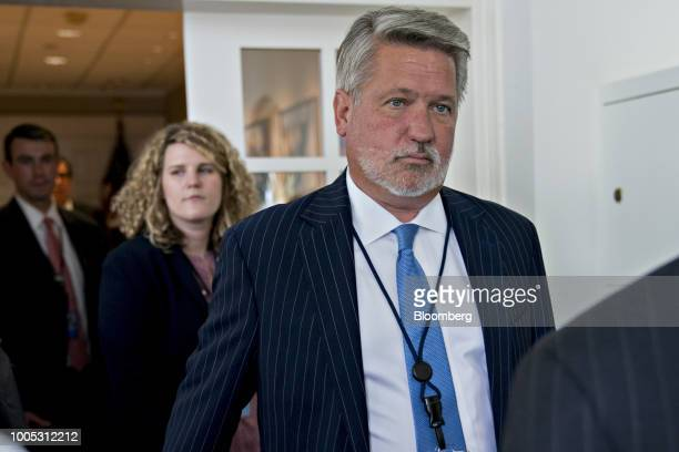 Bill Shine White House communications director arrives to a joint statement with US President Donald Trump and JeanClaude Juncker president of the...