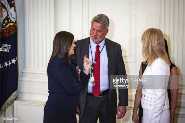 Bill Shine White House communications director center speaks with Sarah Huckabee Sanders White House press secretary left and Kellyanne Conway senior...