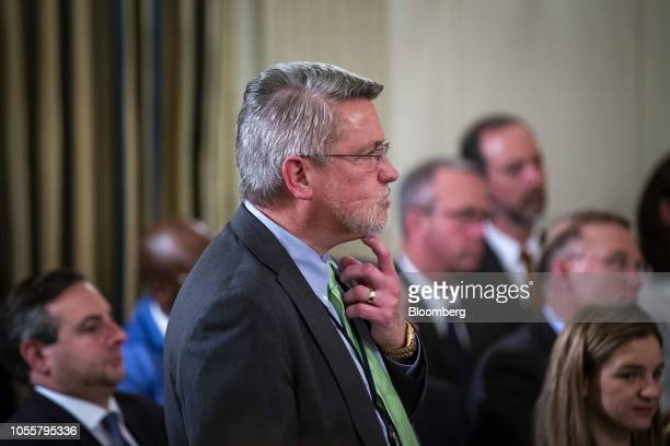 Bill Shine White House communications director listens as US President Donald Trump not pictured speaks during the 'Our Pledge to America's Workers'...