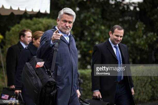 Bill Shine White House communications director walks towards Marine One to depart for Paris on the South Lawn of the White House in Washington DC US...