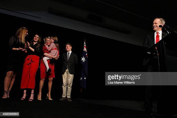 Bill Shorten is joined by wife Chloe Shorten and family Alexandria Georgette Clementine and Rupert while thanking Labor party supporters at Moonee...