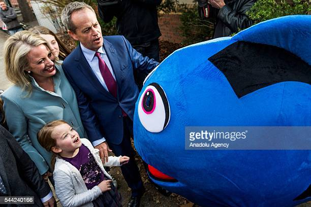 Bill Shorten Leader of the Australian Labor Party and his wife Chloe Shorten arrive at Moonee Ponds West Public School to cast his vote in Melbourne...
