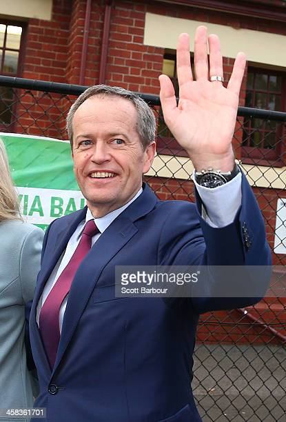 Bill Shorten Leader of the Opposition and Leader of the Australian Labor Party waves after voting at Moonee Ponds West Primary School on July 2 2016...