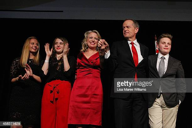 Bill Shorten poses with wife Chloe Shorten and family Alexandra Georgette and Rupert after thanking Labor party supporters at Moonee Valley Racing...