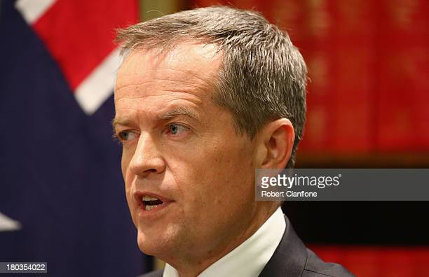 Bill Shorten speaks to the media to announce he is standing for the Leader of the Federal Parliamentary Labor Party on September 12 2013 in Melbourne...