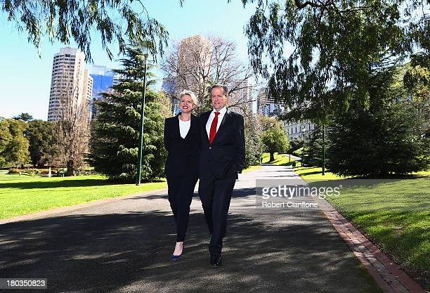 Bill Shorten walks with his wife Chloe after he announced that he would be standing for the Leader of the Federal Parliamentary Labor Party on...