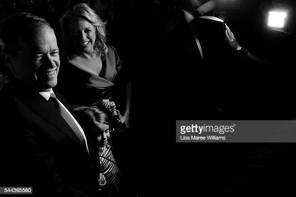Bill Shorten wife Chloe Shorten and daughter Clementine approach the stage at Moonee Valley Racing Club on July 2 2016 in Melbourne Australia With...