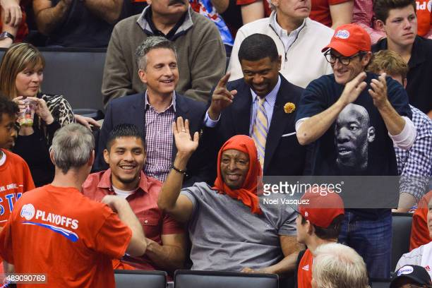 Bill Simmons J R Martinez and Jalen Rose attend an NBA playoff game between the Oklahoma City Thunder and the Los Angeles Clippers at Staples Center...