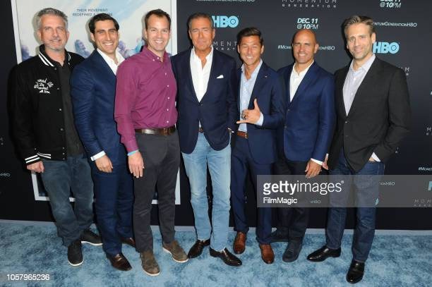 Bill Simmons Peter Nelson Casey Bloys Richard Plepler Kalani Robb Kelly Slater and Max Kellerman arrive at the Los Angeles Premiere Of Momentum...