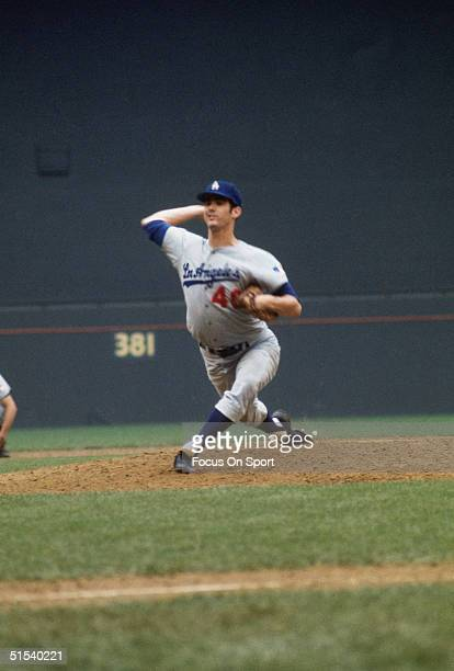 Bill Singer of the Los Angeles Dodgers pitches during the All Star Game at Robert F Kennedy Stadium in Washington DC in 1969 Bill Singer pitched 2...