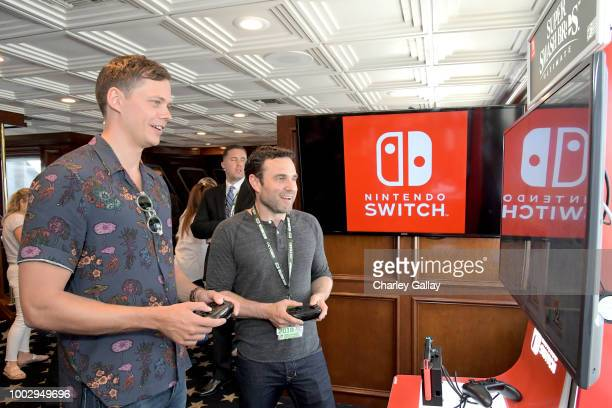 Bill Skarsgard and Dustin Thomason test their skills on Super Smash Bros Ultimate for Nintendo Switch at the Variety Studio at ComicCon 2018 on July...