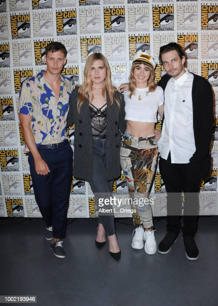 Bill Skarsgard Hari Nef Suki Waterhouse and Sam Levinson pose during the 'Assassination Nation' panel with the cast and the Russo Brothers during...