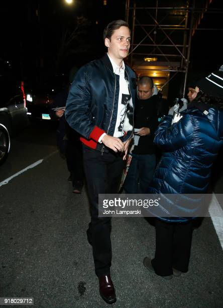 Bill Skarsgard is seen outside the Calvin Klein show at the American Stock Exchange during New York Fashion Week at on February 13 2018 in New York...