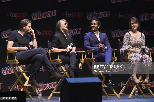 Bill Skarsgard Sissy Spacek Andre Holland and Melanie Lynskey speak onstage at the Castle Rock Panel during the New York Comic Con 2017 on October 8...