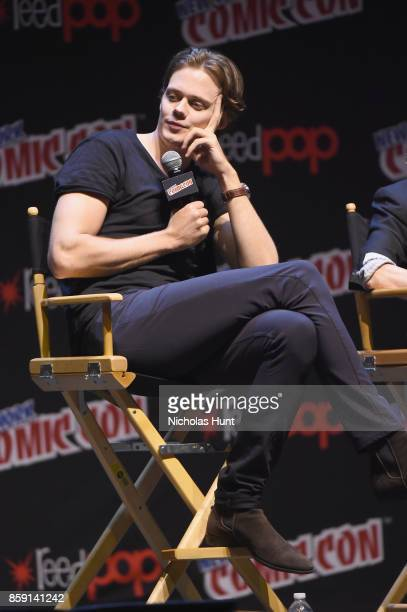 Bill Skarsgard speaks onstage at the Castle Rock Panel during the New York Comic Con 2017 on October 8 2017 in New York City