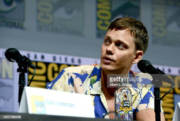 Bill Skarsgard speaks onstage during the Assassination Nation panel with the cast and the Russo Brothers during ComicCon International 2018 at San...