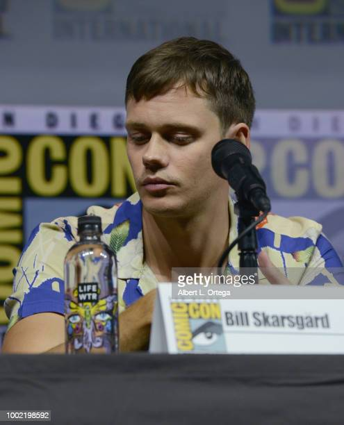 Bill Skarsgard speaks onstage during the 'Assassination Nation' panel with the cast and the Russo Brothers during ComicCon International 2018 at San...