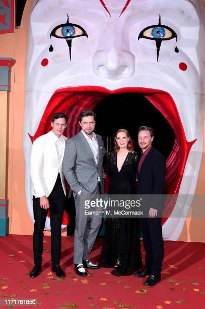 Bill Skarsgård director Andy Muschietti Jessica Chastain and James McAvoy attend the IT Chapter Two European Premiere at The Vaults on September 02...