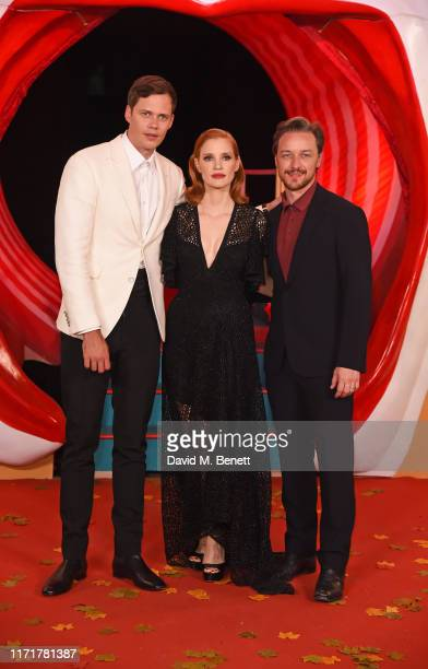 Bill Skarsgård Jessica Chastain and James McAvoy attend the European Premiere of IT Chapter Two at The Vaults Waterloo on September 02 2019 in London...