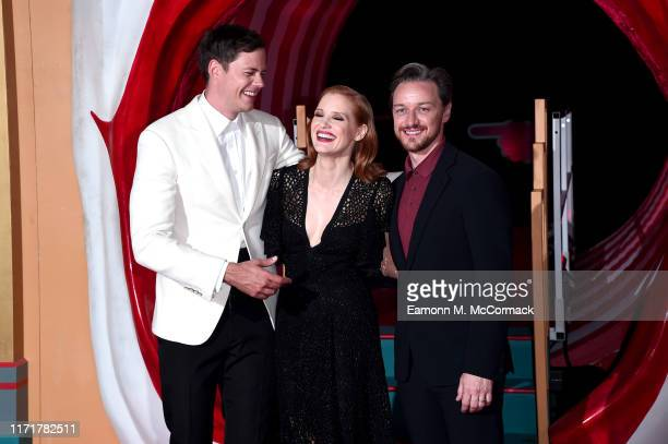 Bill Skarsgård Jessica Chastain and James McAvoy attend the IT Chapter Two European Premiere at The Vaults on September 02 2019 in London England