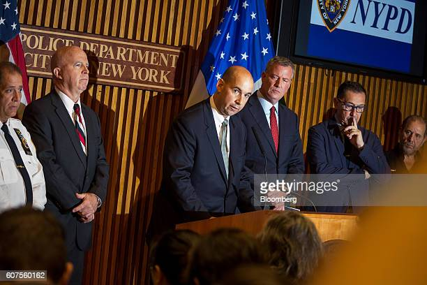 Bill Sweeney assistant director of the Federal Bureau of Investigation center speaks as James O'Neill police commissioner of the New York City Police...