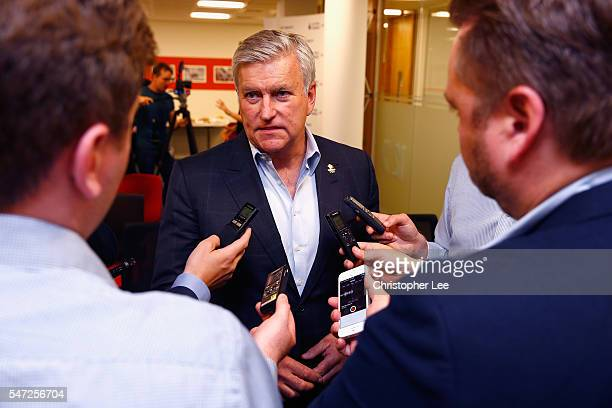 Bill Sweeney Chief Executive of British Olympic Association talks to the media during a media briefing to announce the UK Sport medal targets for the...